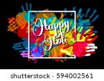 happy holi on a background of...   Shutterstock .eps vector #594002561
