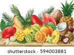 composition of tropical fruits  ... | Shutterstock .eps vector #594003881