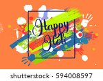 happy holi on a background of... | Shutterstock .eps vector #594008597
