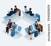 trendy people isometric vector... | Shutterstock .eps vector #594009839