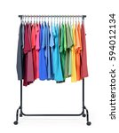 Stock photo mobile rack with color clothes on white background file contains a path to isolation 594012134