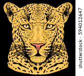 leopard face tattoo  vector... | Shutterstock .eps vector #594012647