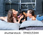 woman in bed with big black... | Shutterstock . vector #594015344