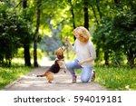young woman with beagle dog in... | Shutterstock . vector #594019181