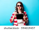 beautiful young woman with...   Shutterstock . vector #594019457