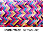 colorful woven straw mat close... | Shutterstock . vector #594021809