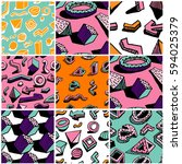 collection of retro patterns.... | Shutterstock .eps vector #594025379