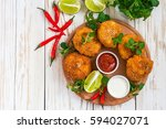 traditional fried spanish... | Shutterstock . vector #594027071
