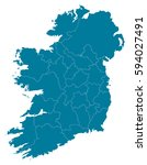 ireland blue map vector | Shutterstock .eps vector #594027491