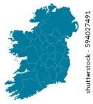ireland blue map vector | Shutterstock .eps vector #594027491