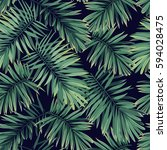dark tropical pattern with... | Shutterstock .eps vector #594028475