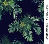 dark tropical background with... | Shutterstock .eps vector #594028541