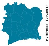 ivory coast blue map vector | Shutterstock .eps vector #594028559