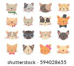 cats heads set. cartoon vector... | Shutterstock .eps vector #594028655