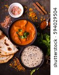 hot spicy chicken tikka masala... | Shutterstock . vector #594029504