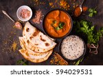 hot spicy chicken tikka masala... | Shutterstock . vector #594029531