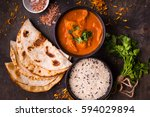 hot spicy chicken tikka masala... | Shutterstock . vector #594029894