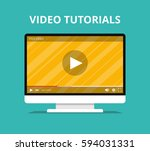 video tutorials  study and... | Shutterstock .eps vector #594031331
