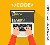 programmer coding on laptop... | Shutterstock .eps vector #594031361