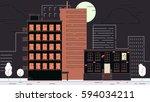 street city buildings | Shutterstock . vector #594034211
