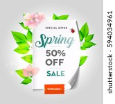 spring sale background with... | Shutterstock .eps vector #594034961
