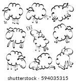 cartoon hand drawn sheep | Shutterstock .eps vector #594035315