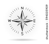 drawing black color compass... | Shutterstock .eps vector #594035909