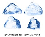 ice cubes set isolated on white. | Shutterstock . vector #594037445