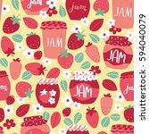 vector seamless strawberry jam... | Shutterstock .eps vector #594040079