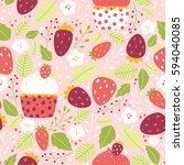 vector seamless strawberry... | Shutterstock .eps vector #594040085