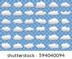 cloud icons on transparent blue ... | Shutterstock .eps vector #594040094