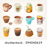 Set Of Colorful Warm Tea Cups...