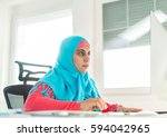 arabic business woman at office ... | Shutterstock . vector #594042965