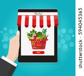 online food shopping ... | Shutterstock . vector #594045365