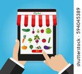online food shopping ... | Shutterstock . vector #594045389