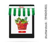 online food shopping ... | Shutterstock . vector #594045401