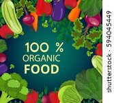 fresh organic food.set of... | Shutterstock . vector #594045449
