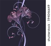 floral pattern with flower lily.... | Shutterstock .eps vector #594046649