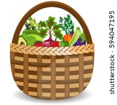 basket with vegetables isolated ... | Shutterstock . vector #594047195