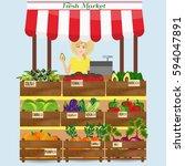 local vegetable stall. fresh... | Shutterstock . vector #594047891