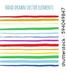 rainbow stripes cards. vector... | Shutterstock .eps vector #594049847