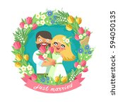 loving couple in floral wreath. ... | Shutterstock .eps vector #594050135