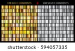Gold gradients 100 big set. Mega collection of golden gradient illustrations for backgrounds, cover, frame, ribbon, banner, coin, label, flyer, card etc. Vector template EPS10 | Shutterstock vector #594057335