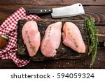 raw chicken meat fillet on... | Shutterstock . vector #594059324