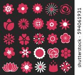 flower icons set. decorative... | Shutterstock .eps vector #594061931