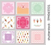 cute card templates set for... | Shutterstock .eps vector #594065531
