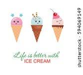 kawaii ice cream cone...   Shutterstock .eps vector #594069149
