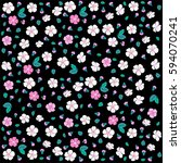seamless floral pattern. white...   Shutterstock . vector #594070241