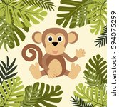 cartoon monkey among leaves | Shutterstock .eps vector #594075299