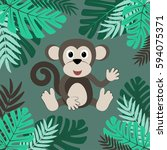 cartoon monkey among leaves | Shutterstock .eps vector #594075371